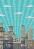 Πόλη στο αναδρομικό ύφος διανυσματική απεικόνιση