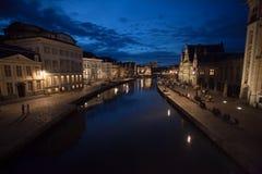 Πόλη της Γάνδης, Βέλγιο, τή νύχτα Στοκ Εικόνες