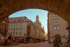 Πόλη της Δρέσδης κέντρο ιστορικό Βράδυ φθινοπώρου στη Δρέσδη στοκ φωτογραφία