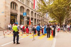 Πόλη της Ζυρίχης στην ελβετική εθνική μέρα Στοκ εικόνες με δικαίωμα ελεύθερης χρήσης