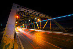 Πόλη της Μπανγκόκ, όψη νύχτας, ώρα κυκλοφοριακής αιχμής στοκ εικόνες με δικαίωμα ελεύθερης χρήσης