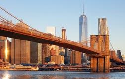Πόλη της Νέας Υόρκης - γέφυρα του Μπρούκλιν, ΗΠΑ στοκ εικόνες