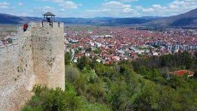 Πόλη της Οχρίδας όπως βλέπει από το κάστρο Samuil απόθεμα βίντεο