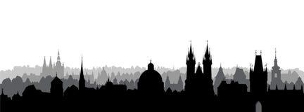 Πόλη της Πράγας, τσεχικά Άποψη οριζόντων Εικονική παράσταση πόλης με το κτήριο ορόσημων καθεδρικών ναών διανυσματική απεικόνιση