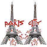 Πόλη του Άιφελ Παρίσι δίδυμων πύργων με τα λουλούδια διανυσματική απεικόνιση