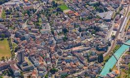 Πόλη του Ίντερλεικεν όπως βλέπει από την ΑΜ σκληρότερα Στοκ φωτογραφίες με δικαίωμα ελεύθερης χρήσης