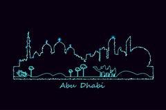 Πόλη του Αμπού Νταμπί τη νύχτα Στοκ Εικόνα