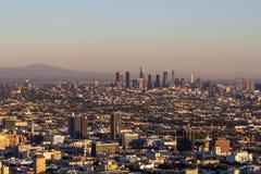 Πόλη του Λος Άντζελες, Καλιφόρνια σε ένα φως ηλιοβασιλέματος στοκ εικόνες
