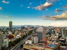 Πόλη του Μεξικού - εναέρια πανοραμική άποψη - ηλιοβασίλεμα στοκ εικόνες με δικαίωμα ελεύθερης χρήσης