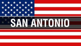 Πόλη του San Antonio σε ένα υπόβαθρο ΑΜΕΡΙΚΑΝΙΚΩΝ σημαιών, τρισδιάστατη απόδοση Σημαία των Ηνωμένων Πολιτειών της Αμερικής που κυ ελεύθερη απεικόνιση δικαιώματος
