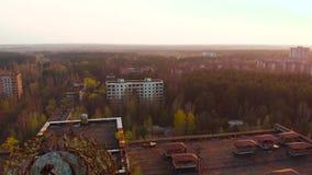 Πόλη-φάντασμα Pripyat κοντά στον πυρηνικό σταθμό του Τσέρνομπιλ, Ουκρανία απόθεμα βίντεο