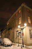 πόλη χειμερινής νύχτας   Στοκ εικόνες με δικαίωμα ελεύθερης χρήσης
