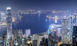 Πόλη Χονγκ Κονγκ καληνύχτας στοκ εικόνες