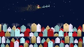 Πόλη Χριστουγέννων με Άγιο Βασίλη για το πρότυπο καρτών διανυσματική απεικόνιση