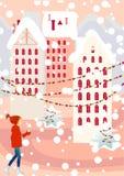 πόλη Χριστουγέννων Στοκ Φωτογραφία