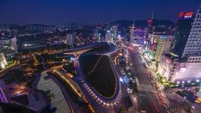 Πόλη Dongdaemun, σχέδιο Plaza, νέα ανάπτυξη Dongdaemun στη Σεούλ, που σχεδιάζεται από Zaha Hadid απόθεμα βίντεο