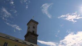 Πόλη Lviv, Ουκρανία Δημαρχείων απόθεμα βίντεο