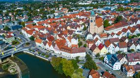 Πόλη Nuertingen άνωθεν Στοκ Εικόνες