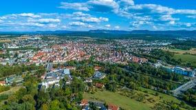 Πόλη Nuertingen και το Suabian Alb Στοκ Εικόνα