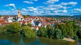 Πόλη Nuertingen στον ποταμό Neckar Στοκ Φωτογραφία