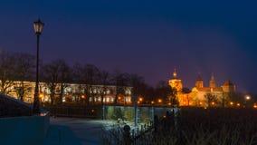 Πόλη Plock στη νύχτα, Πολωνία Στοκ εικόνες με δικαίωμα ελεύθερης χρήσης