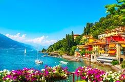 Πόλη Varenna, τοπίο περιοχής λιμνών Como Ιταλία, Ευρώπη στοκ φωτογραφία