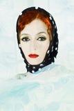 Πόλκα σημείων headscarf που φορά τη Στοκ Εικόνες