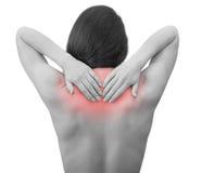 Πόνος. Η εκμετάλλευση γυναικών δίνει πίσω το λαιμό στοκ φωτογραφία με δικαίωμα ελεύθερης χρήσης