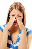 Πόνος κόλπων που προκαλεί τον πολύ paintful πονοκέφαλο Στοκ Φωτογραφίες