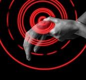 Πόνος στο θηλυκό καρπό, τομέας πόνου του κόκκινου χρώματος στοκ εικόνες