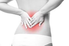 Πόνος στο θηλυκό πόνο στην πλάτη στοκ εικόνες με δικαίωμα ελεύθερης χρήσης