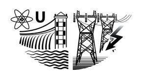 Πόροι ενέργειας: Εγκαταστάσεις πυρηνικής και υδρο παραγωγής ενέργειας, και σταθμοί ηλεκτρικής δύναμης ελεύθερη απεικόνιση δικαιώματος