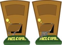 Πόρτα με ένα χτύπημα γατών ελεύθερη απεικόνιση δικαιώματος