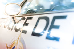 Πόρτα, παράθυρο και δευτερεύων καθρέφτης του περιπολικού της Αστυνομίας Στοκ Εικόνα