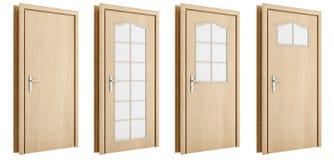 Πόρτα που απομονώνεται ξύλινη στο λευκό Στοκ εικόνες με δικαίωμα ελεύθερης χρήσης