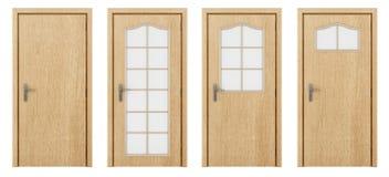 Πόρτα που απομονώνεται ξύλινη στο λευκό Στοκ Εικόνα