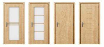 Πόρτα που απομονώνεται ξύλινη στο λευκό Στοκ Φωτογραφίες