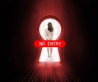 Πόρτα που εμποδίζεται από κανένα σημάδι εισόδων με τη επιχειρηματία στοκ εικόνα