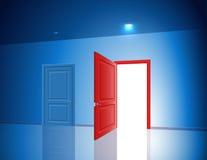 Πόρτες δύο διάφορη ελαφριά ανοικτή κλειστή πιθανότητα δωματίων επιλογής απεικόνιση αποθεμάτων