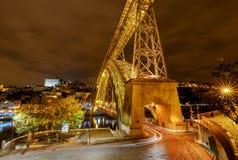 Πόρτο Η Don Luis γέφυρα τη νύχτα Στοκ φωτογραφίες με δικαίωμα ελεύθερης χρήσης