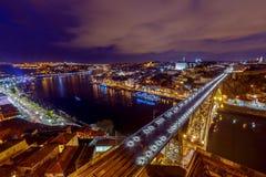 Πόρτο Η Don Luis γέφυρα τη νύχτα Στοκ εικόνα με δικαίωμα ελεύθερης χρήσης