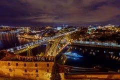 Πόρτο Η Don Luis γέφυρα τη νύχτα Στοκ Εικόνες