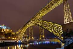 Πόρτο Η Don Luis γέφυρα τη νύχτα Στοκ φωτογραφία με δικαίωμα ελεύθερης χρήσης
