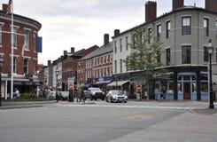 Πόρτσμουθ, στις 30 Ιουνίου: Τετράγωνο αγοράς από το στο κέντρο της πόλης Πόρτσμουθ στο Νιού Χάμσαιρ των ΗΠΑ στοκ εικόνα