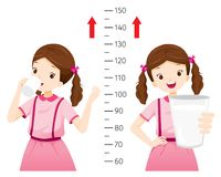 Πόσιμο γάλα κοριτσιών για την υγεία και πιό ψηλός Κορίτσι που μετρά το Hei της Στοκ φωτογραφία με δικαίωμα ελεύθερης χρήσης