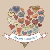 Πόσο βαθιά είναι η αγάπη σας Διαφορετικές καρδιές Διανυσματική απεικόνιση