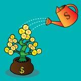 Πότισμα ενός δέντρου χρημάτων Στοκ φωτογραφίες με δικαίωμα ελεύθερης χρήσης