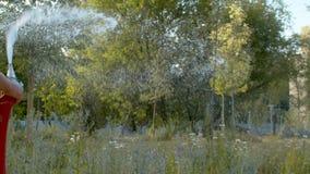 Πότισμα των λουλουδιών στο πάρκο απόθεμα βίντεο