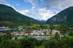 Πόλης εναέρια άποψη Flam, Νορβηγία Στοκ φωτογραφία με δικαίωμα ελεύθερης χρήσης