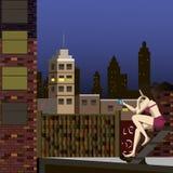 Πόλης στέγες νύχτας διανυσματική απεικόνιση